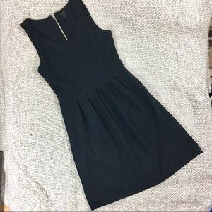 J.crew scuba pleated sleeveless solid black dress